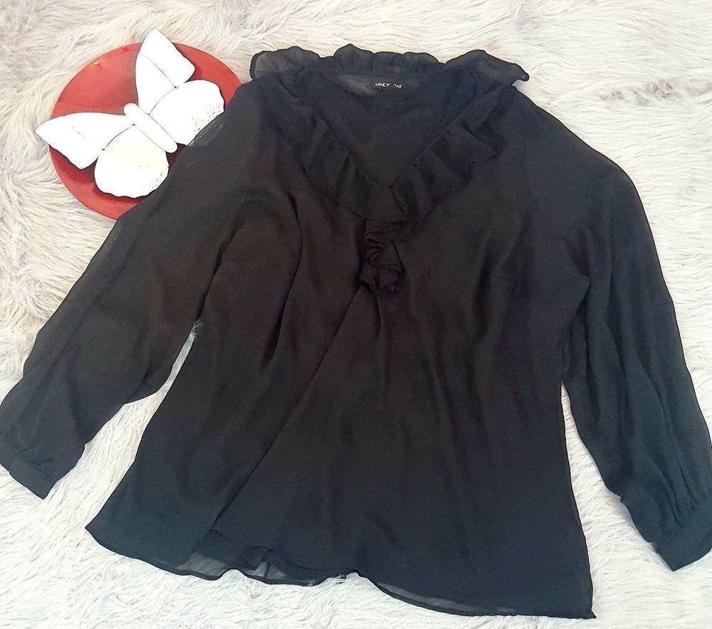 Lane bryant top size black sheer long sleeve ruffle blouse