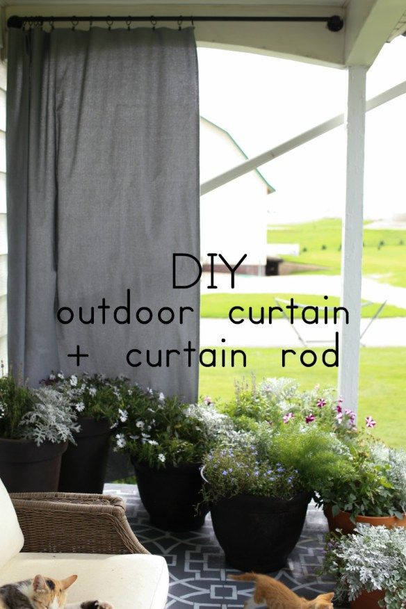 DIY outdoor curtain and curtain rod in 15 minutes or less!  The Dempster Logbook.