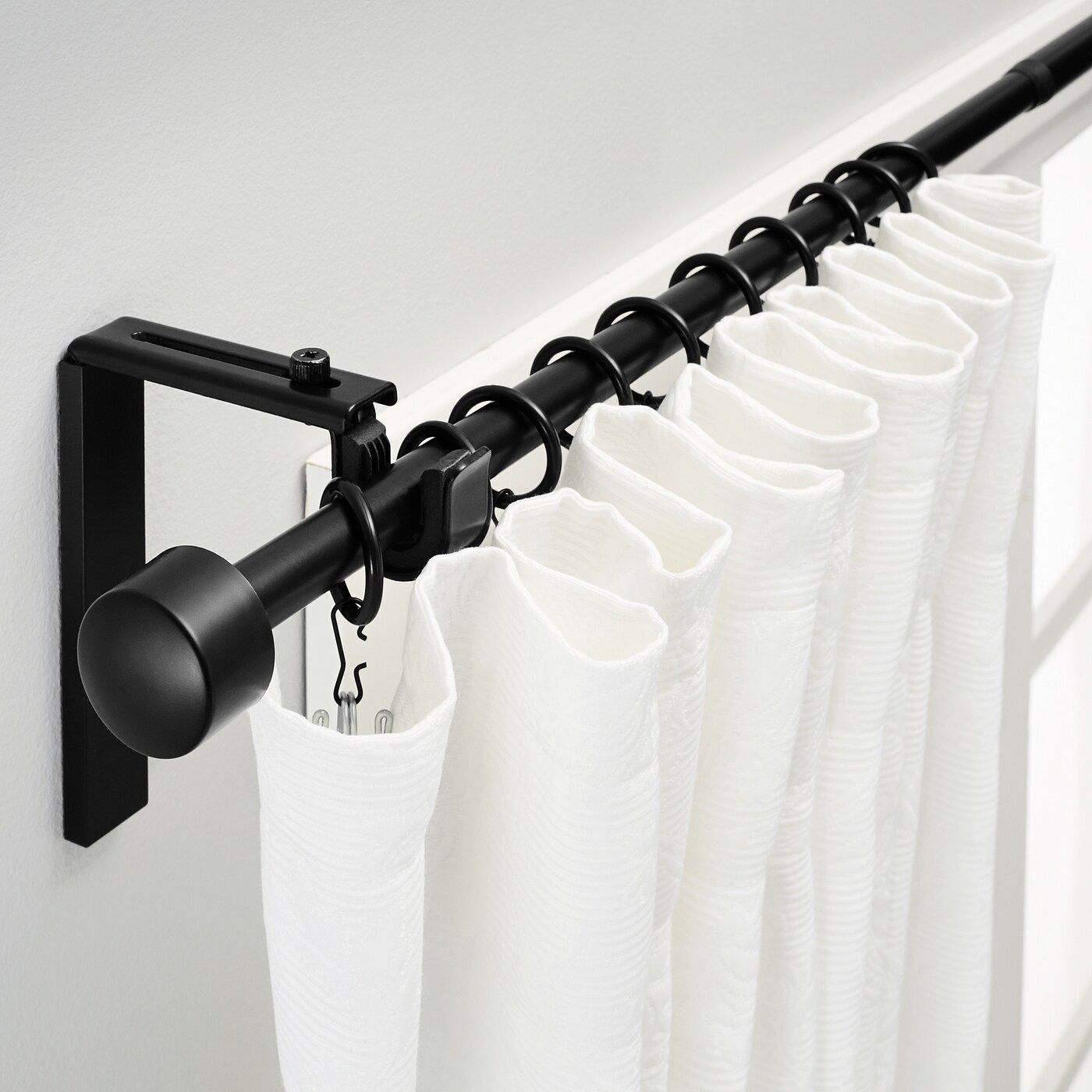Racka Curtain Rod Combination Black 47 1 4 82 5 8 120 210 Cm In 2020 Black Curtain Rods Curtain Rods Ikea Curtain Rods