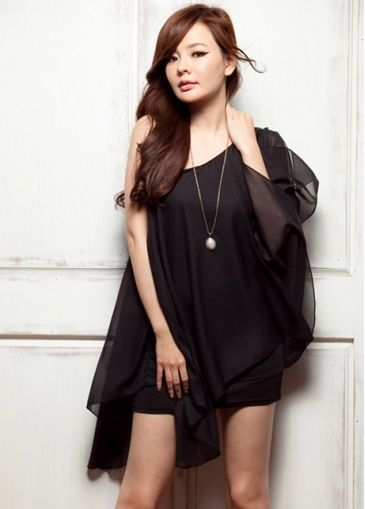 Unique Single Shoulder Chiffon Black Summer Dress For Lady with cheap wholesale price, buy Unique Single Shoulder Chiffon Black Summer Dress For Lady at wholesaleitonline.com !