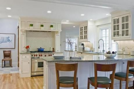 Kitchen...Kitchen at Wellesley home designed by David Sharff. For Your Home issue, 2/3/13.
