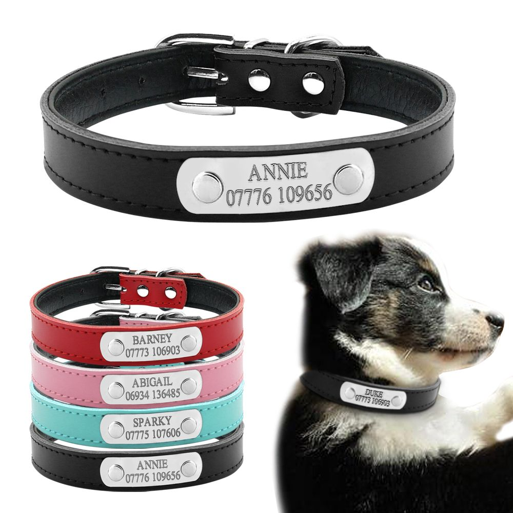 499ede60936e Soft Leather Personalized Laser Dog Collars Free Engraving Metal Buckle  Custom Cat Puppy Pet Name Phone ID Collar XS S M-in Collars from Home &  Garden on ...