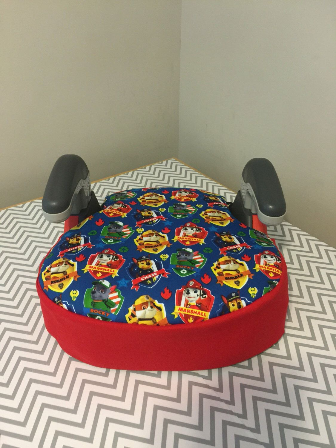 Booster Car Seat Cover Made With Paw Patrol Fabric Including Marshall Fire Chief Dog