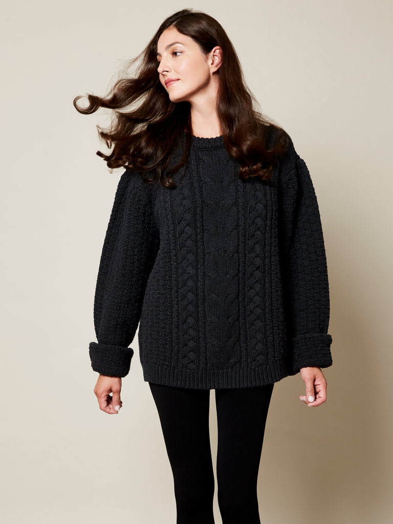 JUST ARRIVED! The Aran Sweater in Black on Her | Aran ...