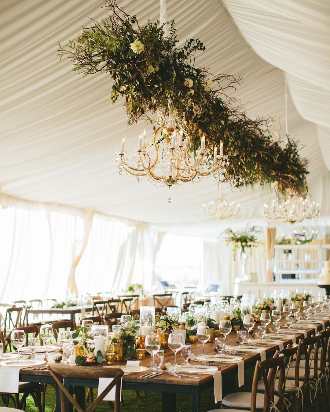 """Carats & Cake on Instagram: """"Beachside bliss to a greenery-filled tented reception brought nature to the focal point of Audrey & Paul's elevated #Charleston fete. See…"""""""