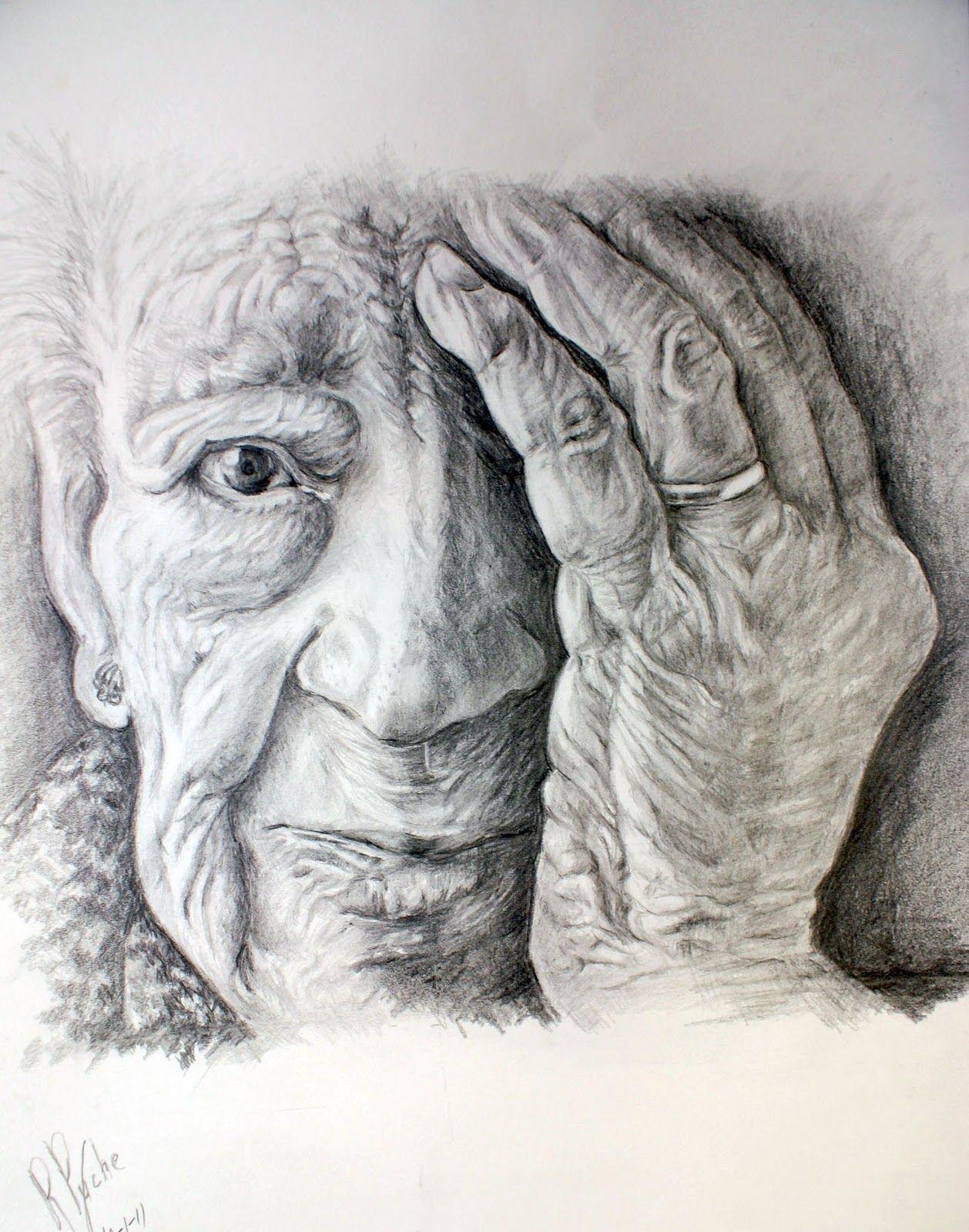 Anciana R Puche Dibujos Ancianos Dibujo Realista