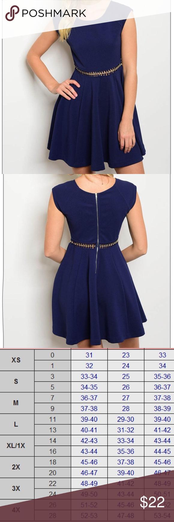 c59a61cdf1 Ladies Women Navy Blue Flare Skater Dress S M L Boutique