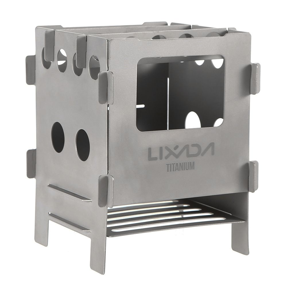 Lixada Portable Stainless Steel Lightweight Folding Wood Stove Pocket Stove for Camping Cooking Picnic Backpacking Outdoor