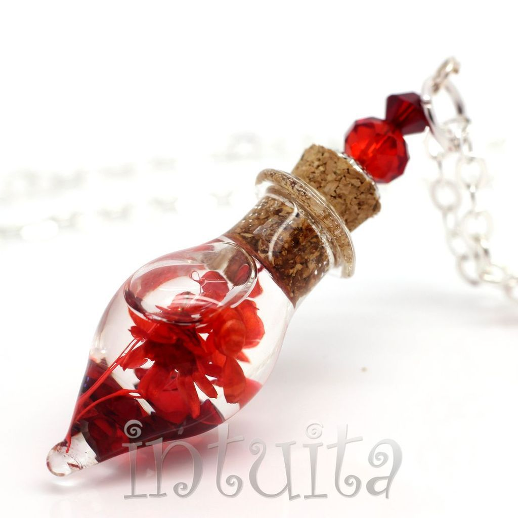 Red Color Love Potion Pendant For Witches with Real Dried Flowers Floating Inside