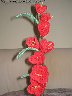 Lana E Cotone Maglia E Uncinetto Gladiolo Flores Crochet