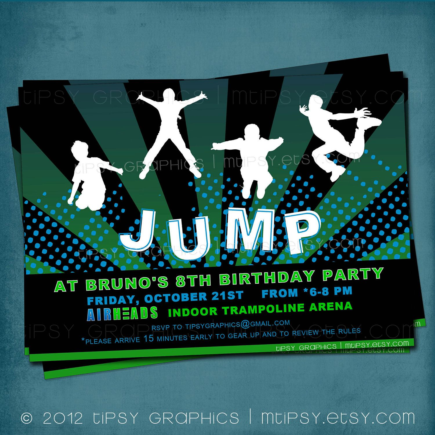 Trampoline Party Invitations: Jump Trampoline Or Bounce House Birthday Party Invite By