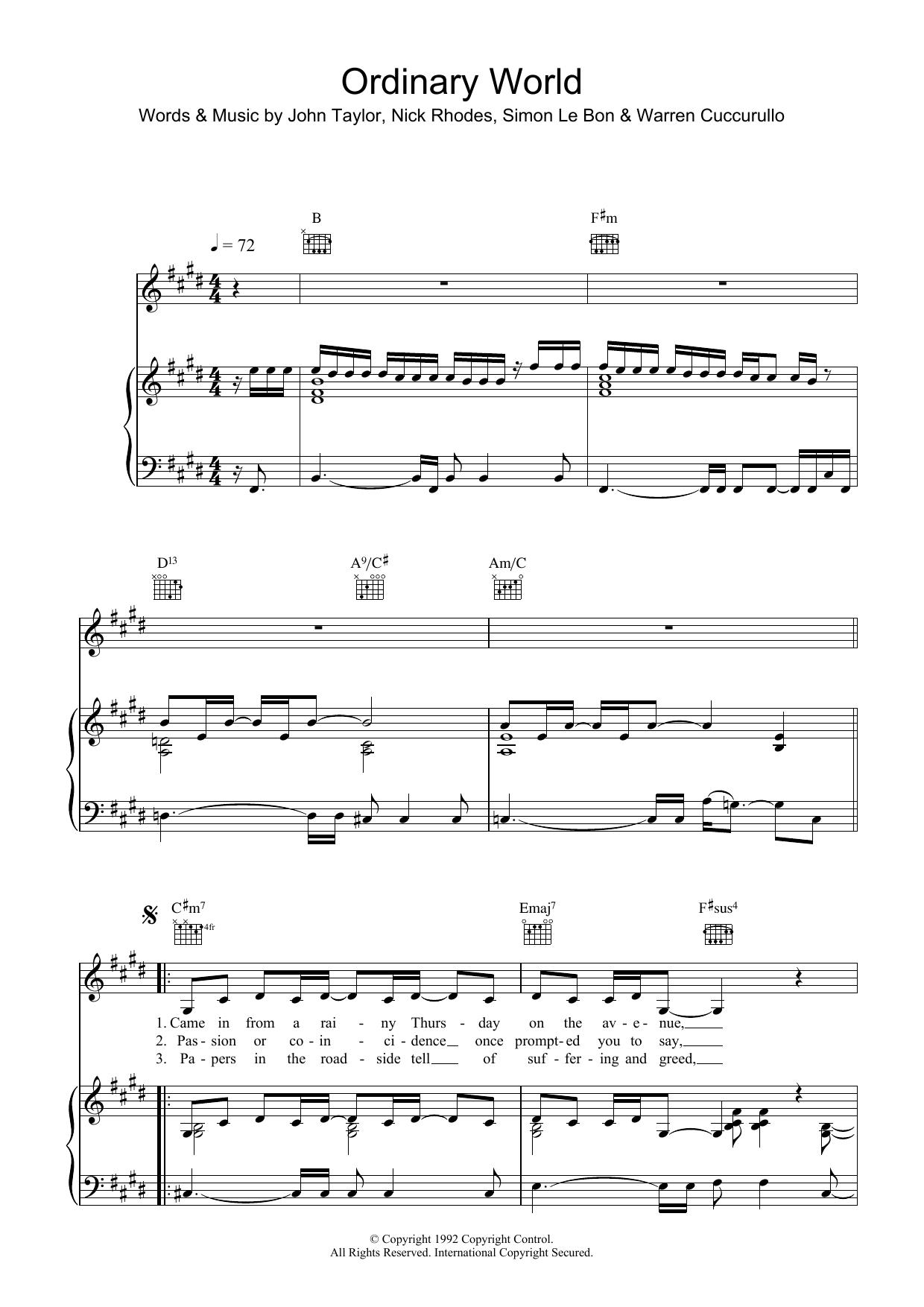 Ordinary World Sheet Music   Duran Duran   Piano, Vocal & Guitar ...