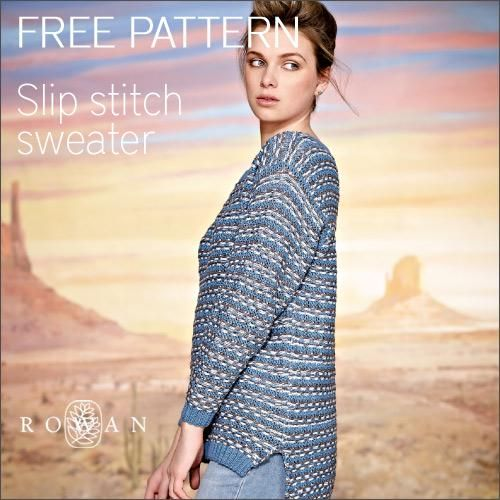 Rowan Arkansas Jumper Slip Stitch Sweater Free Knitting Patterns