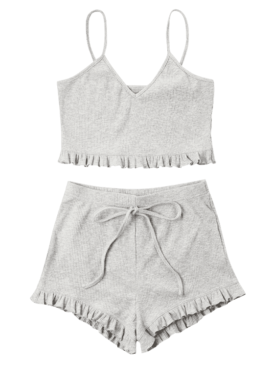 caaf87a75 Knit Frill Trims Cami Shorts Set