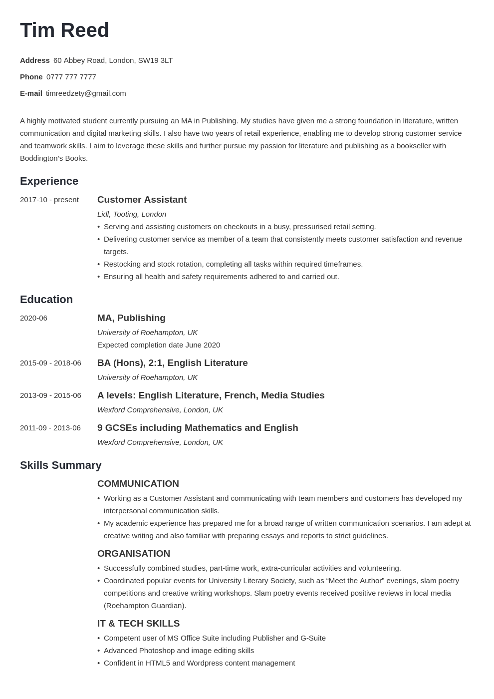 Uk Student Cv Example Template Minimo In 2020 Student Cv Examples Cv Examples Cv Template Student