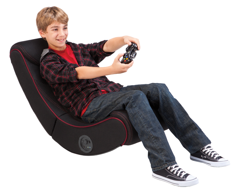 Rocker Red Striped Gaming Chair Multimedia Gaming Recliner With