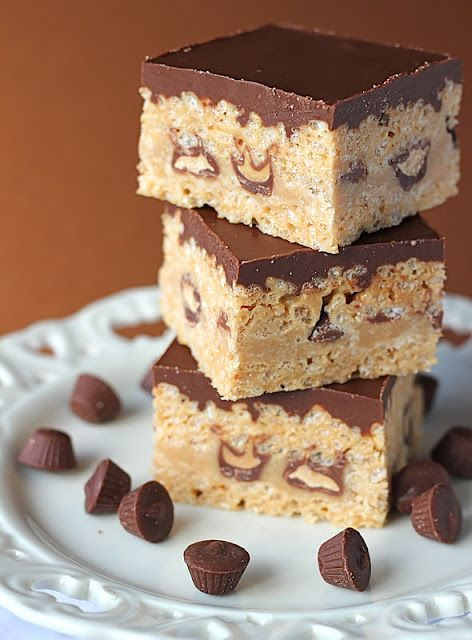 Peanut Butter Chocolate Rice Crispy Treats. I have to make these!