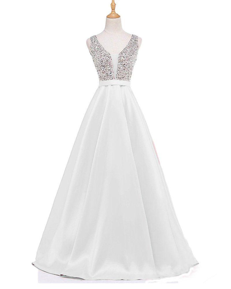 Lisa womenus tulle deep v neck prom dress formal evening gowns ls