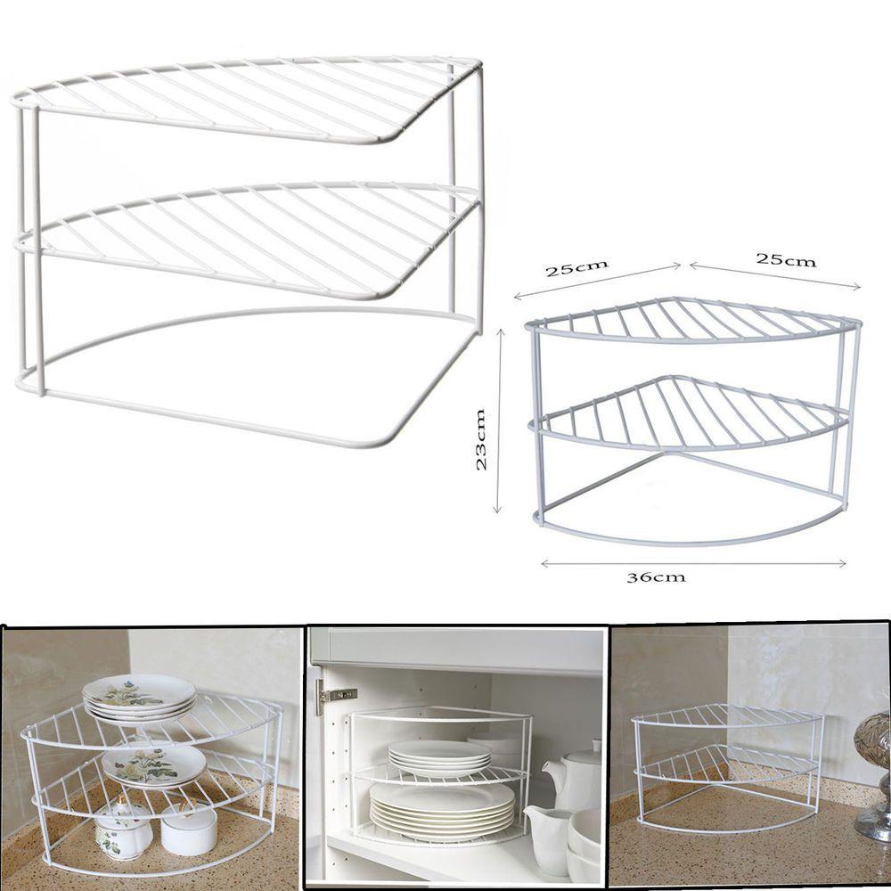 White Steel 3 Tier Corner Plate Stand Stacker Holder Storage Rack Cupboard Home Furniture Diy Cookware Dining Bar Storage Rack Plate Stands Cupboard