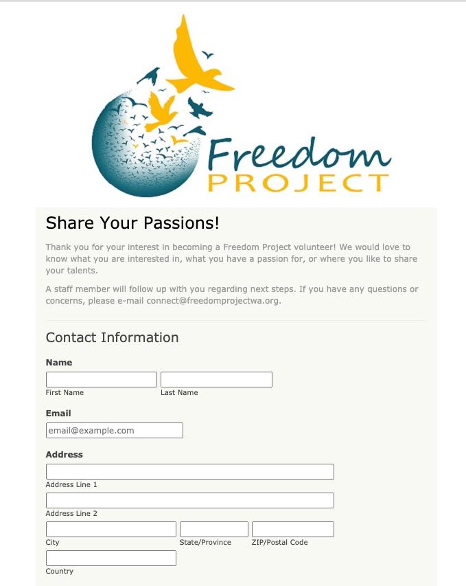 Freedom Project Wa Volunteer Interest Form Donation Form Online Form Volunteer