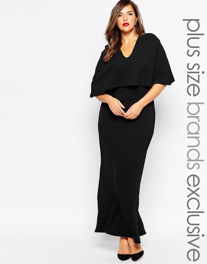 ee795aefdb1 Club L Plus Plunge Front Maxi Dress With Kimono Sleeves
