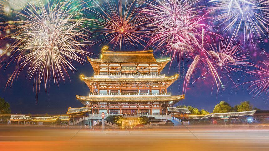 Du Fu River Pavilion Fireworks Night View Attic Rail River Light Fireworks Design Template Design Web App Design