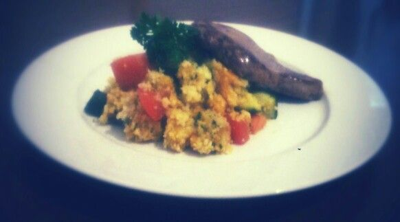 Lamb with roast veggie and herb cous cous