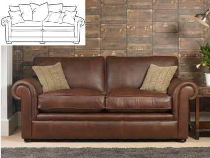 Modern Sectional Sofas Wade Barnaby Leather Grand Sofa Split Scatter Back BARNABYSB Feather scatter cushions