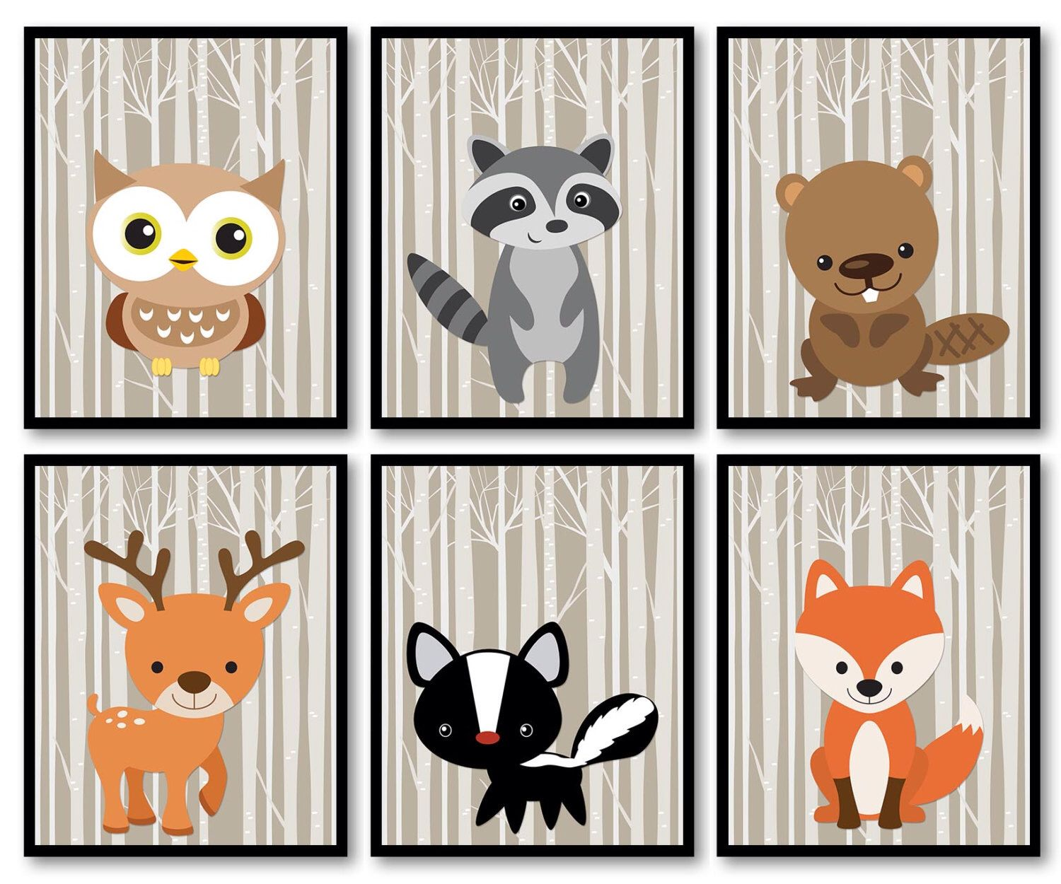 Woodland Animals Nursery Art Print Mix Match Owl Ra Beaver Deer Skunk Fox Trees Wild