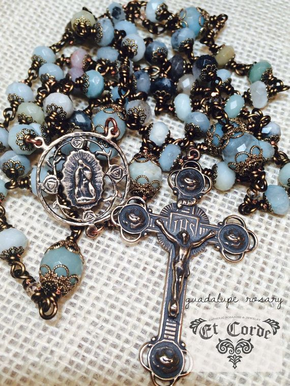 Our Lady of Guadalupe Rosary, Wire wrapped, Bronze, Faceted Amazonite 8mm and 10mm, Catholic Jewelry, Christian Jewelry, Heirloom #rosaryjewelry Our Lady of Guadalupe Rosary Wire wrapped Bronze by Et Corde Rosaries & Jewelry #rosaryjewelry
