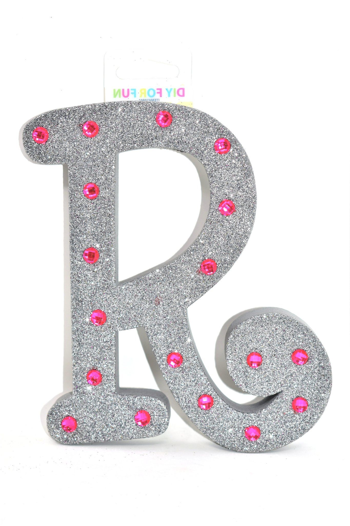 7 Silver Glitter Pink Rhinestone Foam Letter R Foam Letters Lettering Pink Rhinestones