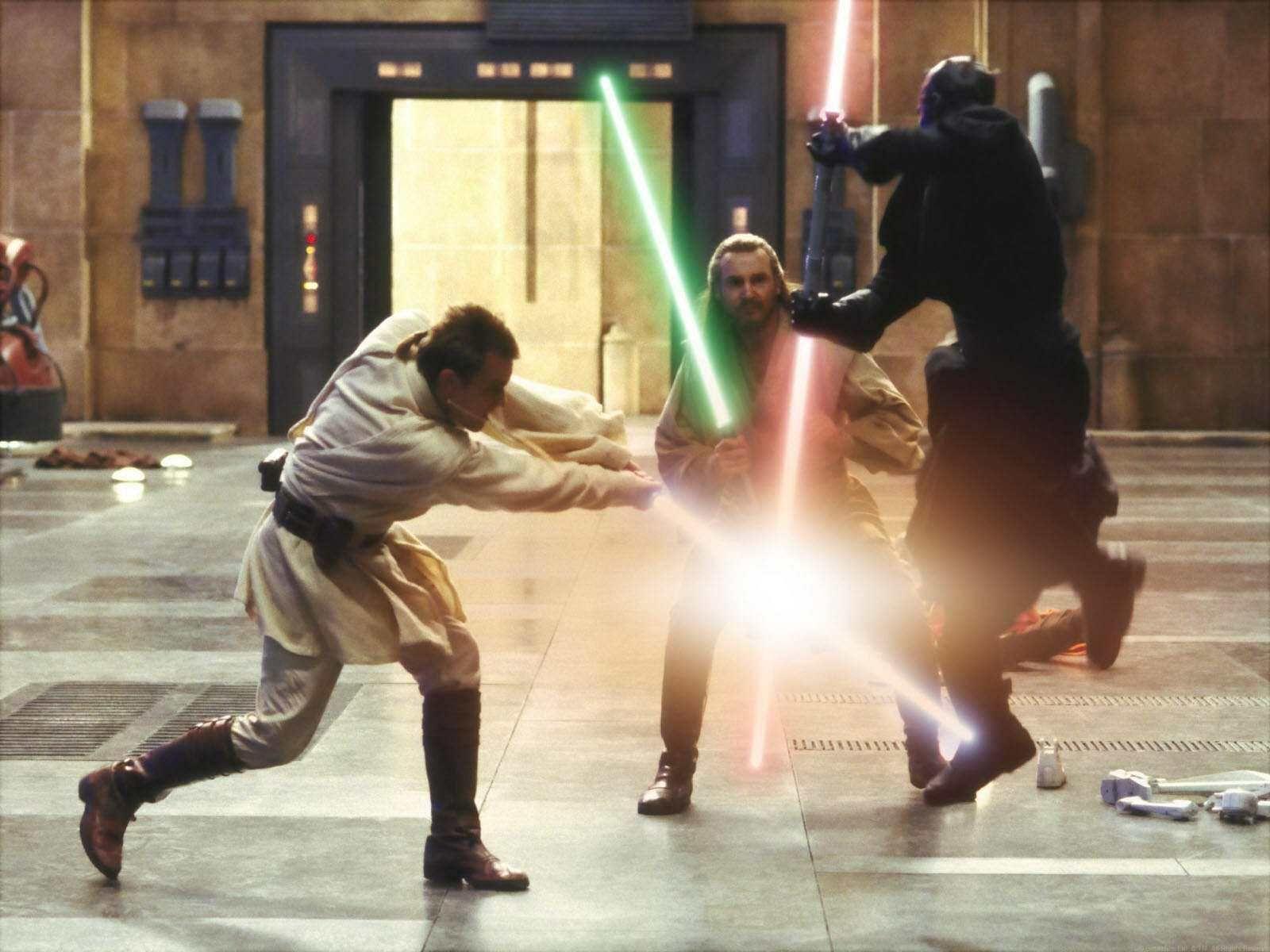 Resultado de imagem para phantom menace qui gon jinn and obi wan versus darth maul
