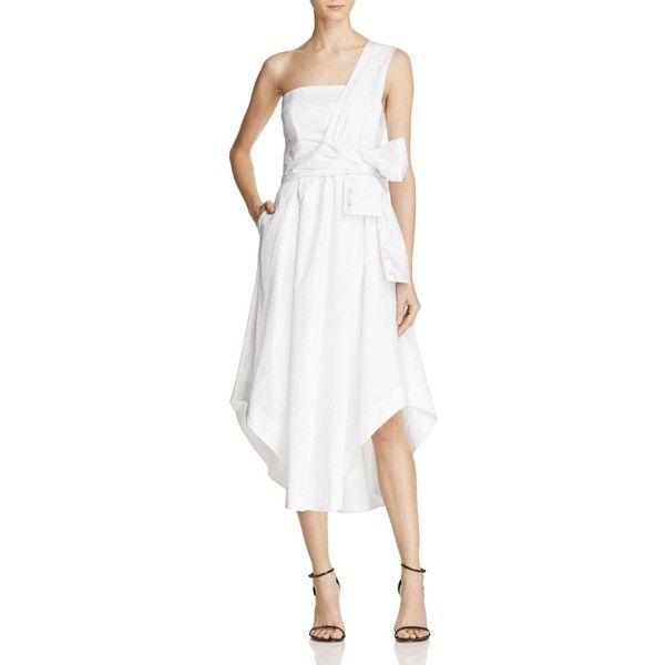 Kendall and Kylie One Shoulder Wrap Dress ($145) ❤ liked on Polyvore featuring dresses, bright white, one shoulder grecian dress, gathered dress, drape dress, single shoulder dress and off one shoulder dress