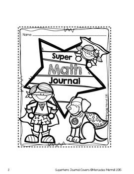 Free Superhero Journal Covers Interactive Math Journals Math
