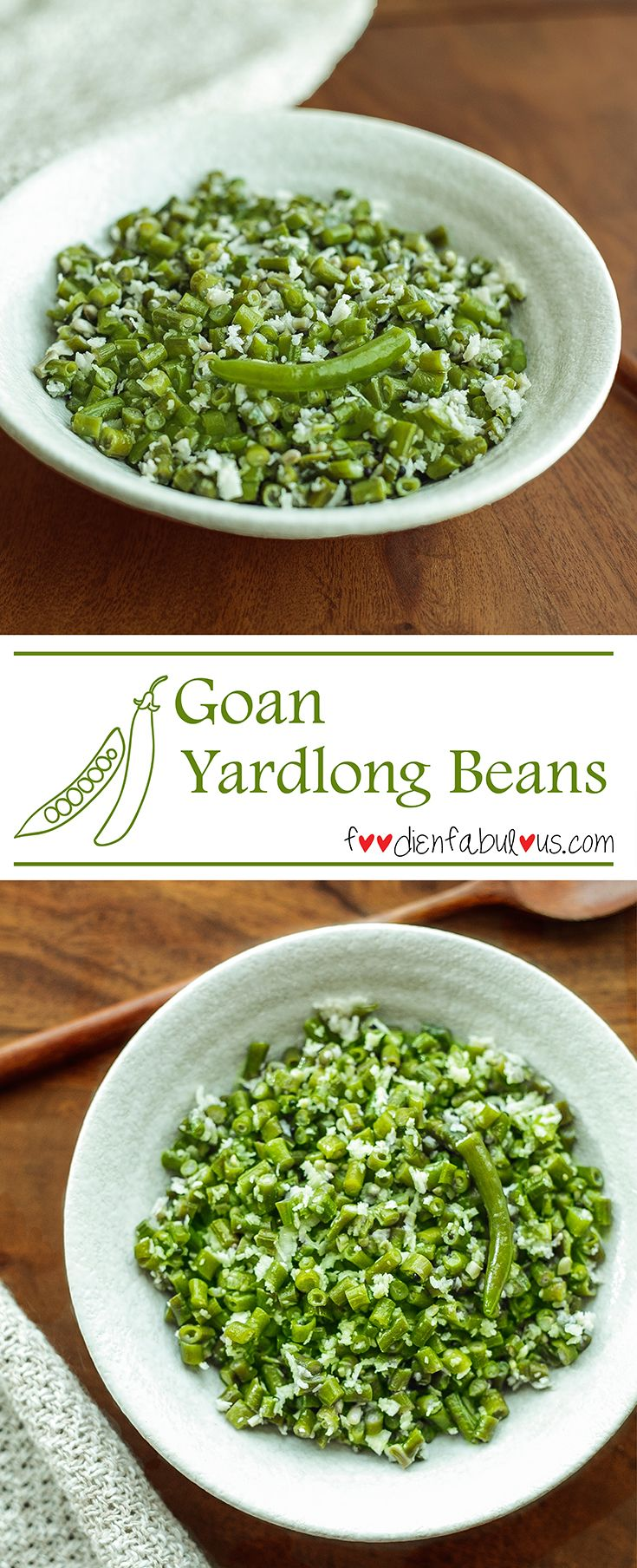 An easy recipe for the perfect side-dish to a staple Goan lunch of fish curry and rice. This is one of the best ways to enjoy the crunch and freshness of the yard long beans and the sweetness from fresh coconut when cooked simply.