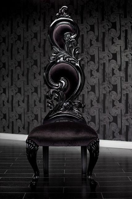 Photo of 4214 BLACK VELVET BAROQUE HIGH BACK CHAIR