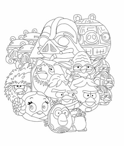 angry birds star wars coloring page - Angry Birds Star Wars Coloring Pages