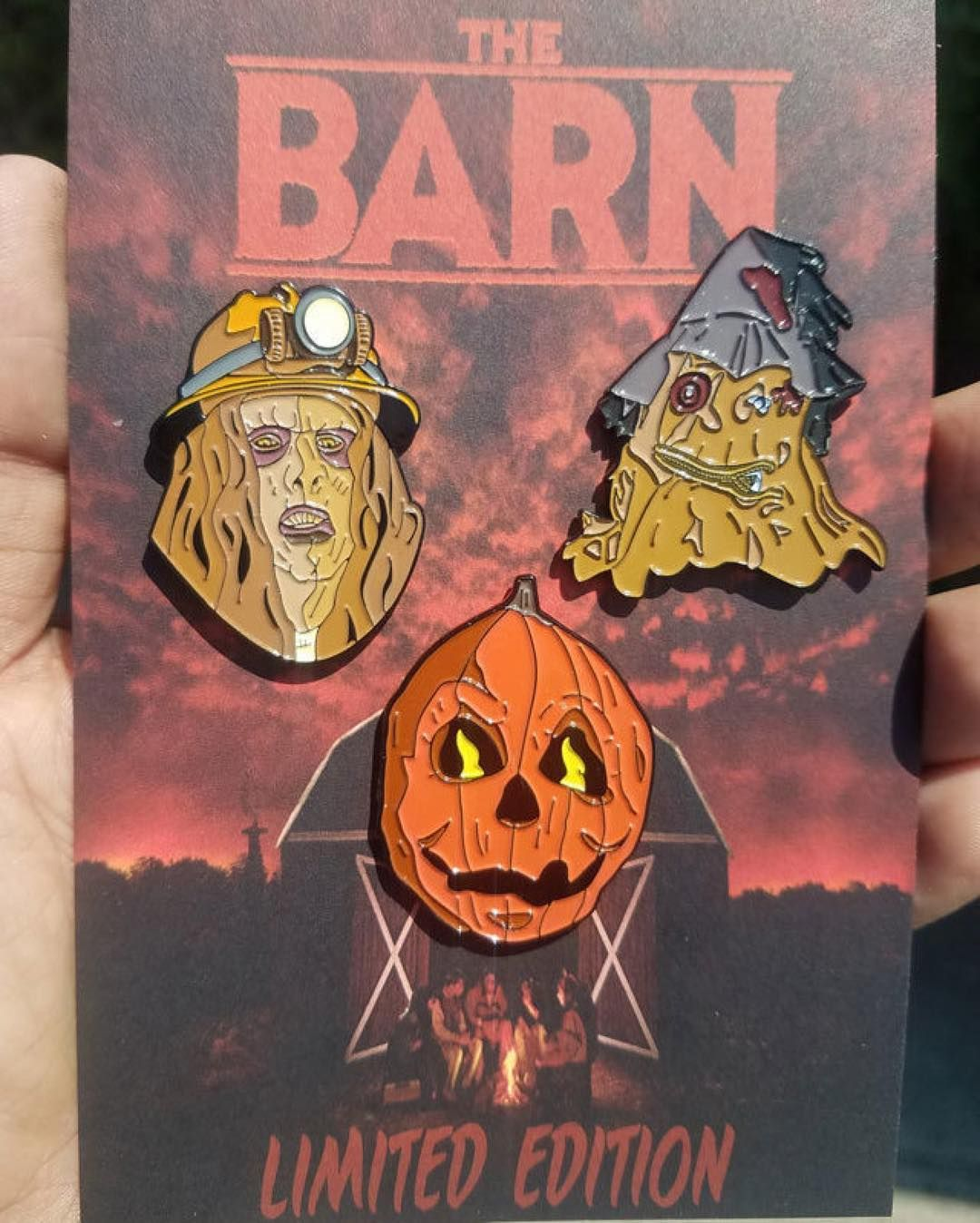 """Repost @igorslab They are finally here. The Barn Official Licensed Pin Set 3 pin set 1.5"""" Soft Enamel Pins With Black Metal Finish (Limited Edition out of 50) Limited 25 pin sets to my site and 25 pin sets will be sold by @the_barn_movie crew at horror conventions. Only $21 bucks for the set. igorslab.bigcartel.com . #thebarn #pumpkinpin #minerpin #scarecrowpin #indiehorror #indiehorrorpins #80shorror #horrorpins #lapelpins #horrorpingame #horrorpin #horrormerch #pincollection #horrorfan…"""