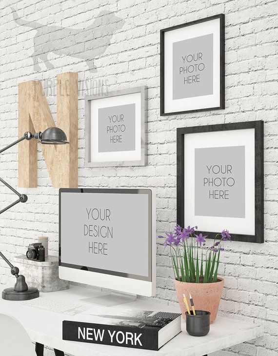 iMac And Photo Frames Contemporary Office by PurpleVisionsShop