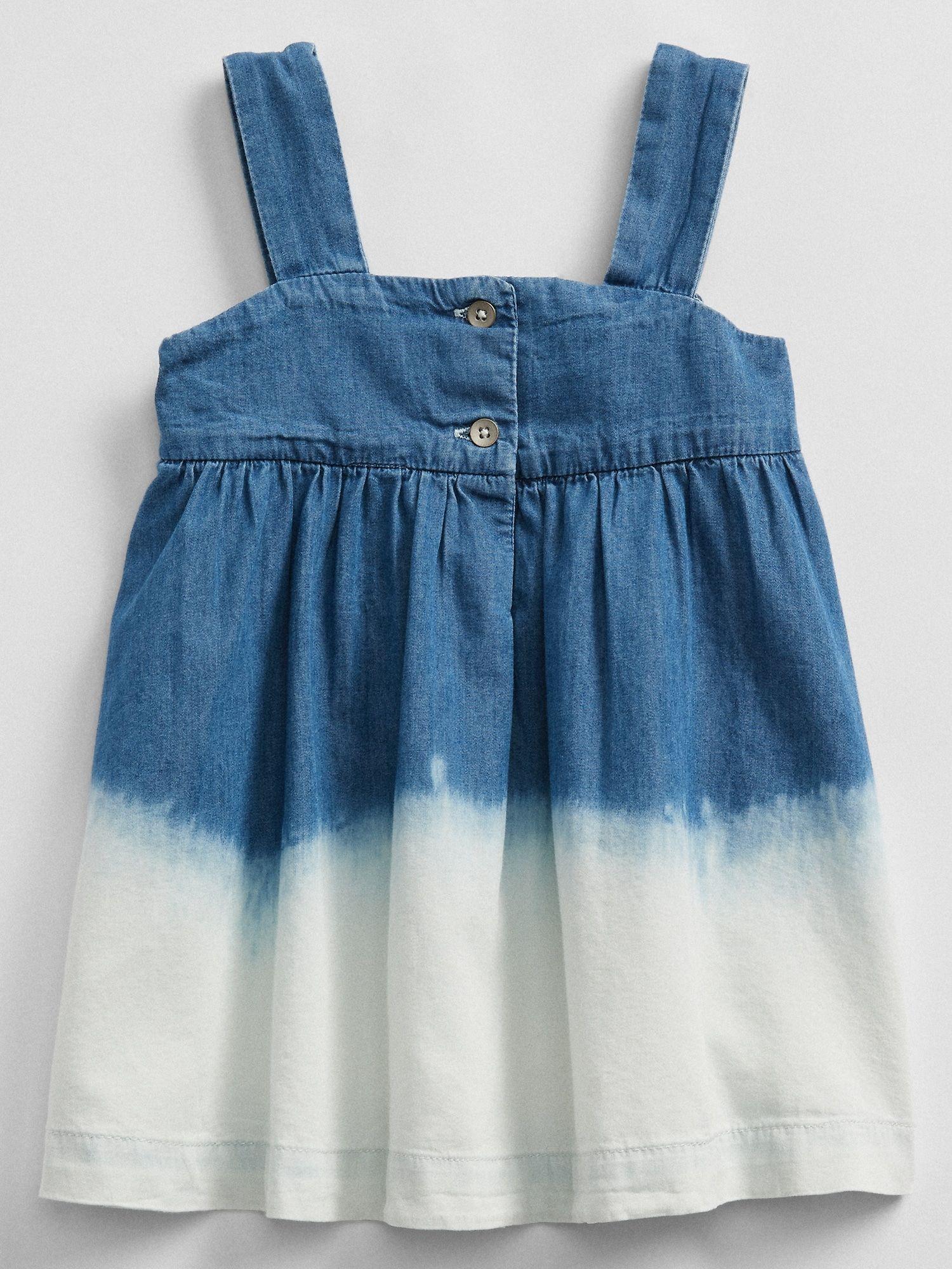 Denim ombre dress blue dip dye gap factory baby girl