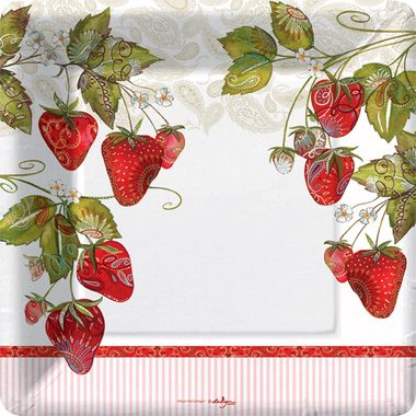 #Strawberry Fields Dinner Paper Plates (48) & Strawberry Fields Dinner Paper Plates (48) | New for Spring 2014 ...
