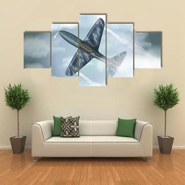 Military Jet Flying In The Sky Multi Panel Canvas Wall Art Canvas Wall Art Multi Panel Canvas Airplane Wall Art
