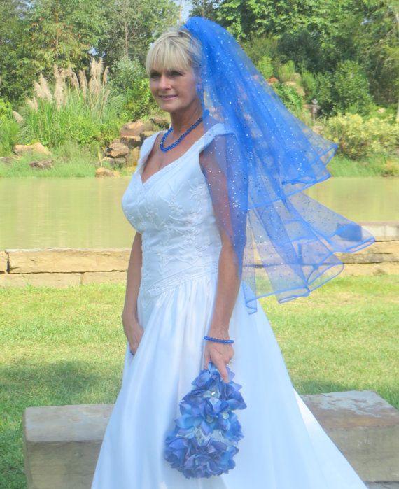 Blue Shimmer 2 Layer Wedding Veil By Avcustomdesigns 75 00 Soft