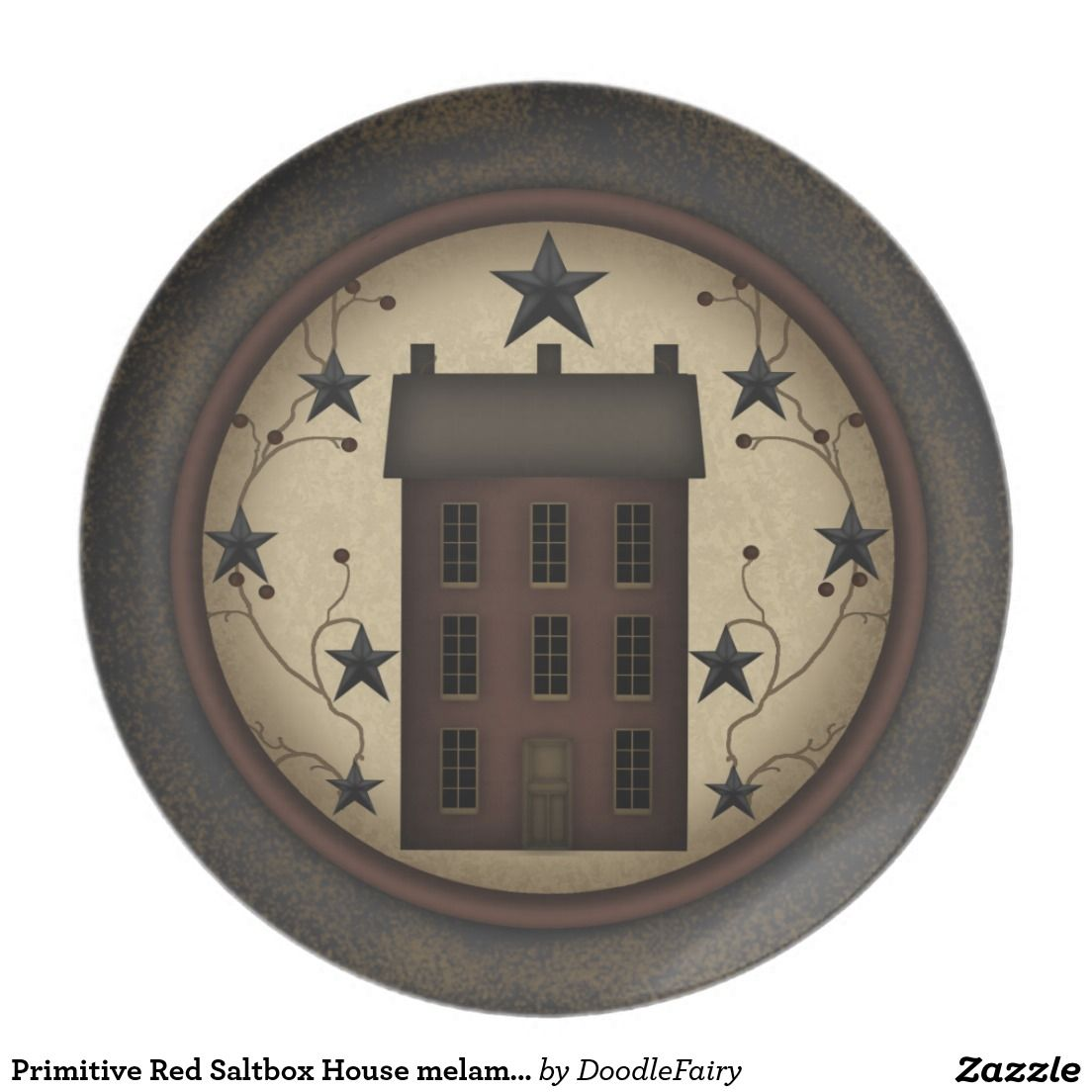 Primitive Red Saltbox House Melamine Plate Zazzle Com Star Wall Primitive Wall Clock