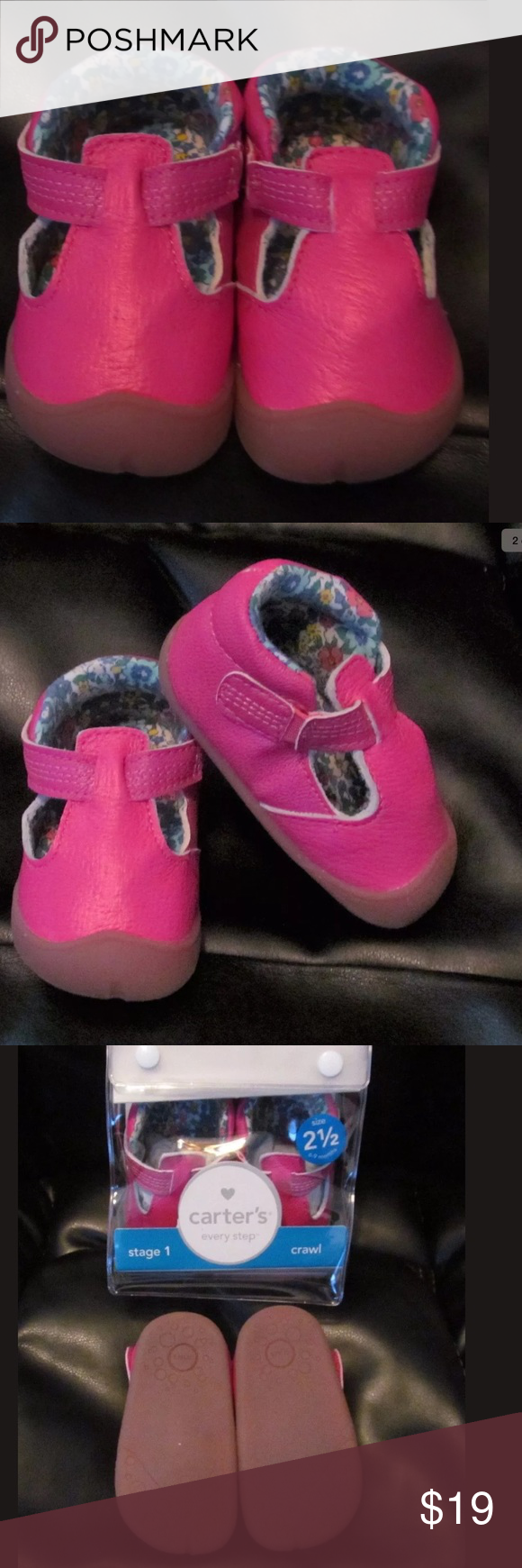 "Carter's Stage 1 Baby Girl Pink Leather Shoes Stage 1 Crawl Shoes By Carter's  If your infant crawls on multiple points of support including hands, knees and toes.  soft, protective toe caps lets baby glide with ease. seamless linings for everyday comfort roomy fit lets bones and muscles grow naturally easy on and off slip-ons ""Every step technology is designed to stimulate muscles and balance development."" -Timothy Derrick, Ph.D Biomechanics  Style: Amy Color: Island Pink Size 2.5 MSRP $44…"