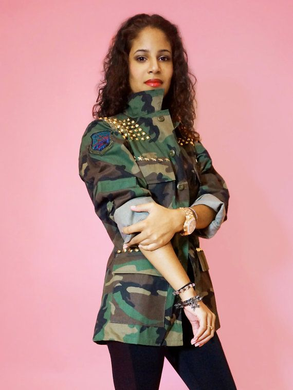 20caa27839f Womens Green Camo Jacket Army Fatigue with Gold by TUCKbrand ...