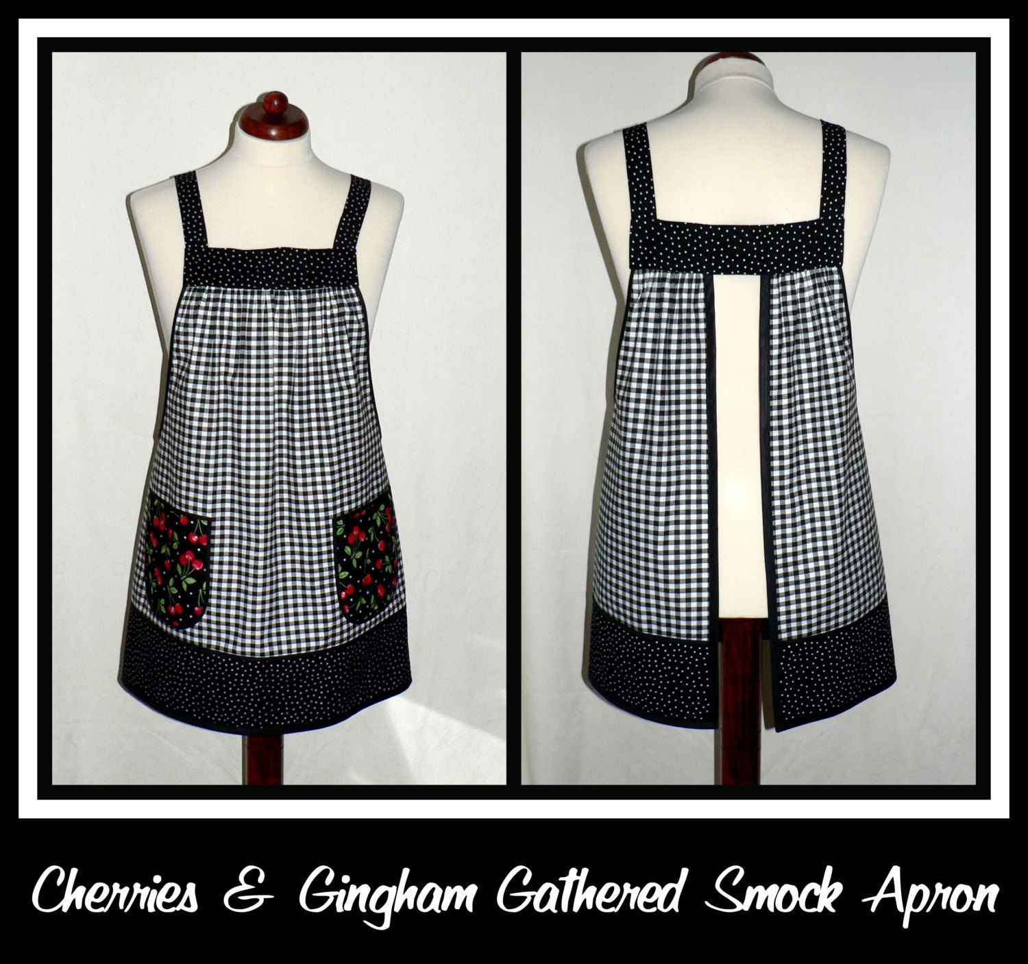 Cherries and Black Gingham no tie apron by LauriesGiftsBiz on Etsy, $40.00