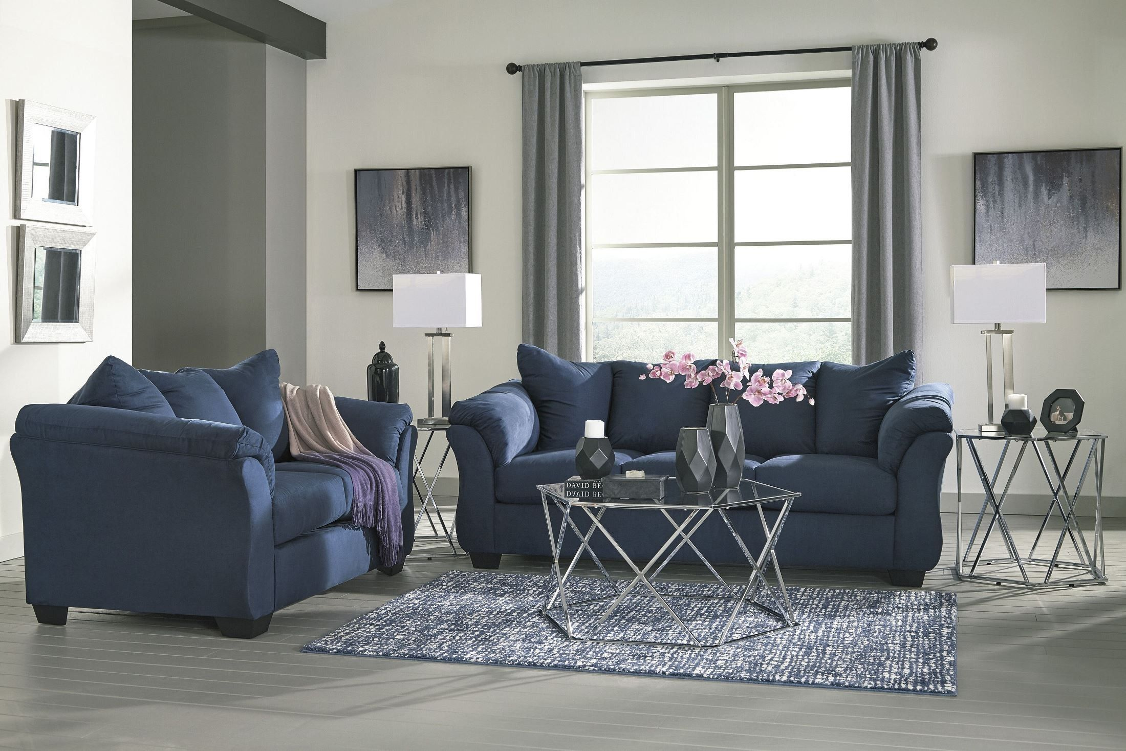 Signature Design By Ashley Darcy Blue Living Room Set