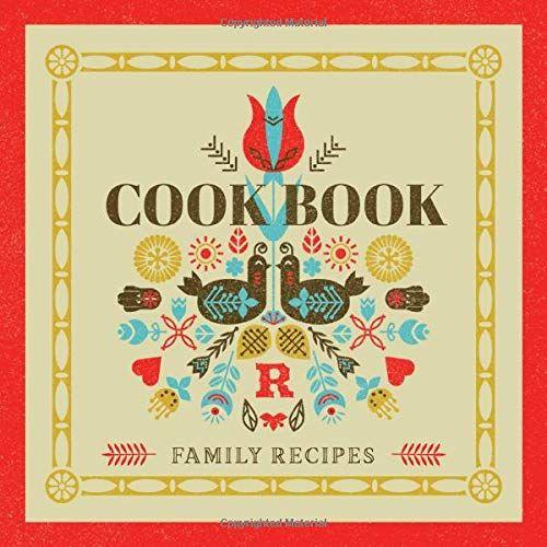 Family Recipes Cookbook Letter R Monogram Blank Recipe Book  Vintage Folk Art  Custom Recipe Organizerart