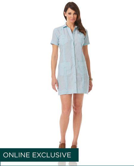 Cubavera Linen Cotton Ladies Short Sleeve Guayabera Dress